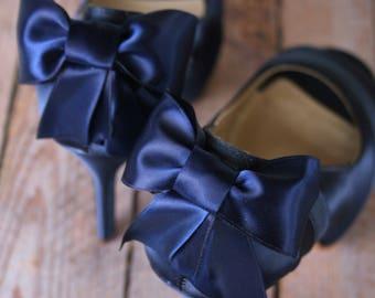 Navy Blue Wedding Shoes, Low Heel, Blue Bridal Accessories, Bow Wedding Shoes, Navy Blue Shoes, Custom Wedding Shoes, Something Blue Shoes