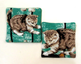 Two Catnip Filled Cat Toys Kittens on Green
