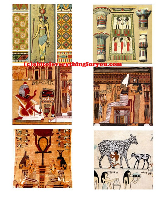 ANCIENT EGYPTIAN pharaoh king queen gods collage sheet printable 3 inch squares clipart digital download graphics images craft tags cards