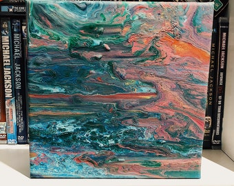 Abstract 3d Acrylic Painting 20x20cm canvas / Ocean Abstract Acrylic Painting / Ocean Painting / Small Canvas Painting