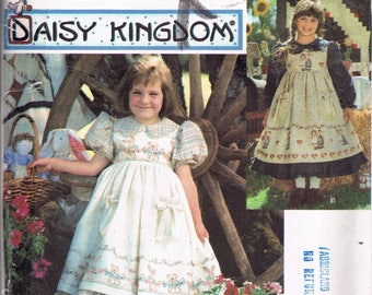 Size 5-8 Girl's Easy Dress Sewing Pattern - Ruffle Hem Pinafore Dress -  Peter Pan Collar Dress Pattern - Daisy Kingdom - Simplicity 9977