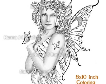 Spring Fairy Tangles Printable Grayscale Coloring book Sheets & Pages by Norma J Burnell Fairies to color Adult Coloring Digital Coloring