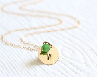 Gold Initial Necklace Birthstone and Initial disc necklace Dainty Letter necklace 14K Gold filled or Sterling silver Bridesmaid gift G231