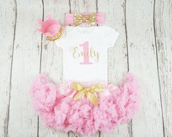 girl 1st birthday outfit, first birthday outfit, first birthday, gold glitter shirt, 1st birthday shirt, birthday girl outfit, pink and gold