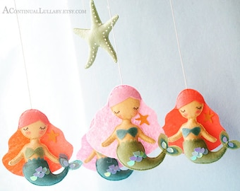 Mermaid Starfish Baby Mobile, Coral Pink Aqua, Sequins, Ocean Mobile, Sea Mobile, Ocean Nursery Decor, Baby Girl Mobile, Pink Mobile