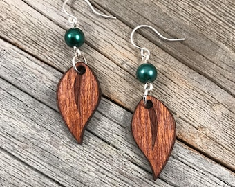 Small Leaf Laser Engraved Wood  Earrings