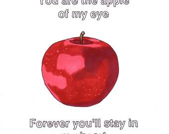 You Are the Sunshine of My Life/Apple- 8x10 Framed Original Illustration