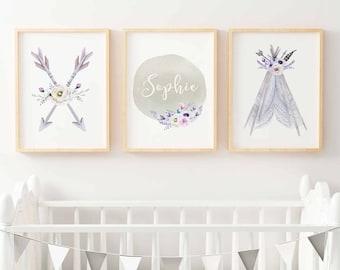 Boho Nursery Print Set | Boho Tribal Nursery Prints | Girls Boho Nursery Prints | Girls Tribal Nursery Prints | Personalized Nursery Prints