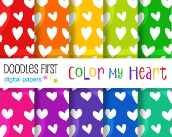 Color My Heart Seamless Digital Paper Pack Includes 10 for Scrapbooking Paper Crafts