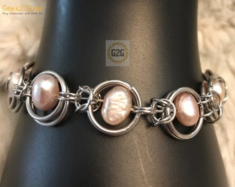 """Stainless Steel Chainmail and Mauve Pink Dyed Fresh Water Pearl Bracelet 7 1/2"""" length lobster clasp Wedding Prom Jewelry"""