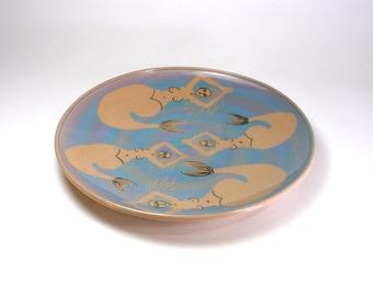 Mermaid Plate Pottery Serving Platter Tan Porcelain
