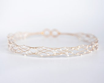 Natural white pearl headband, Gold tiara, Wedding headband, Gold pearl tiara, Tiara for bride, Wedding hair accessory, Bridal headband 691