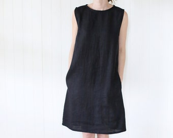 Japanese Classic Linen Dress | Dress With Side Pockets | Dress With An Opening Back | Black Little Dress | French Dress | Tunica |