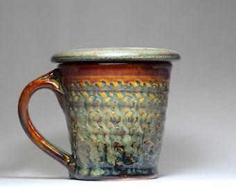 lidded coffee mug, 8oz stoneware pottery mug with lid