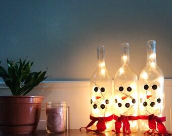 Snowman Wine Bottow Light