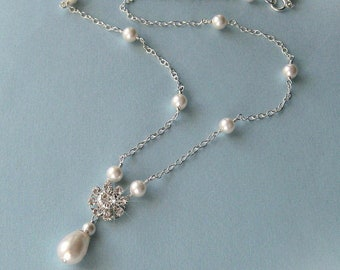 Crystal and Pearl Necklace, Teardrop Pearl Bridal Necklace, Drop Necklace For the Bride, Bridal Necklace, Bridal Jewelry, Wedding Necklace