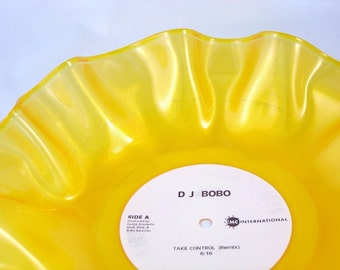 """Yellow Record Bowl / Colored Record Bowl / 12"""" Yellow Vinyl / Record Bowl / Great Housewarming Gift / Dorm Storage / Catch All / Bright"""