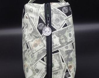 Money Bag, Cash Travel Pouch, Dollar Ditty Bag, Money Toiletry Kit, Cash Bag, Gifts for Him, Dopp Kit, Go Bag, Dollar Bag
