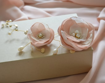 Gold silver bridal hair vine wedding hair flowers floral hair vine ivory hair flowers blush pink hairpiece hair circlet flower crown halo