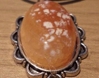 Necklace Orange, gemstone, necklace