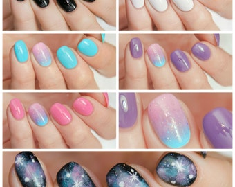FULL SIZE Galaxy Nails Collection - custom creme holographic glitter galaxy nail polish