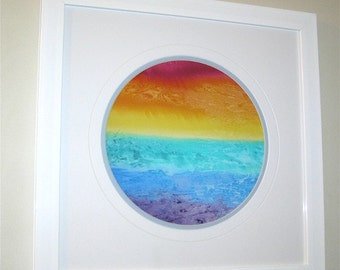 Rainbow print, landscape, white or black background, print, gift giving, home decor, red, orange, yellow, green, blue, purple