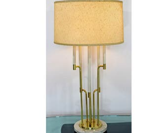 Mid Century Modern Tommi Parzinger Style Candelbra Brass & Marble Table Lamp