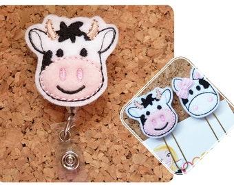 COW Badge Reel, ID Badge Reel, Farm Felt Badge Reel, Retractable Name Holder, Nurse, Planner Clip, Bookmark, Key Ring, Magnet, Ornament  447