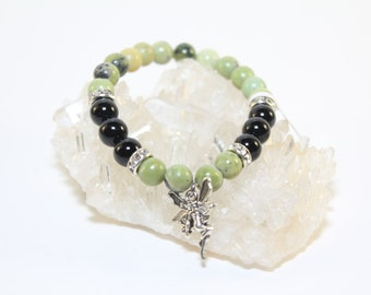 Elastic Cord Bracelet Serpenine & Black Onyx 8mm Beads/Stones Silver Plated Fairy Charm-Free Shipping!