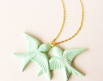 Clearance sale Mint green vintage plastic swallow love birds gold necklace LAST ONE