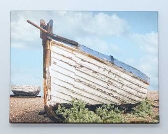 Old Longshore Fishing Boat  at Aldburgh Suffolk Photo  Canvas  (A3) 16 x 12 inches