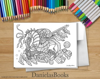 1 Seahorse - 5x7 - Coloring Greeting Card - blank inside. Perfect gift for art lovers.