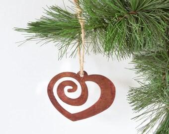 Heart Metal Ornament by WATTO Distinctive Metal Wear /Eternal Love/ Girlfriend /Love/ Spiral Heart/Christmas Ornament/ Wedding/Wedding Decor