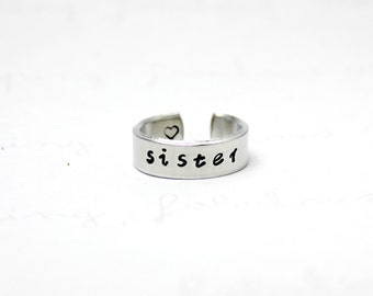 Sister Ring, Sisters Best Friends Aluminum Cuff Rings, Love Sisters Jewelry, Best Friends BFF Ring 7-2