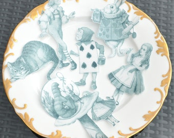 Edible Alice in Wonderland Classic x6 XLarge Figures Set A Black White Wafer Paper Cake Decorations Wedding Toppers Mad Hatter Tea Party RTD