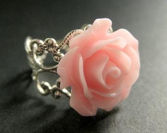 Pink Rose Ring. Pink Flower Ring. Adjustable Ring. Filigree Ring. Flower Jewelry. Handmade Jewelry.