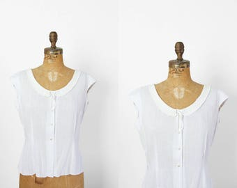 1950s Top - 50s Top - Judy Bond White Blouse With Soutache Collar