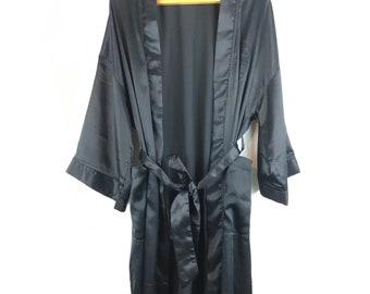 Christian Dior Vintage Black Silk Robe Kimono Duster