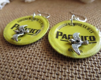 FLY AWAY HOME -- Yellow Pacifico Beer Bottle Cap Earrings with Silver Bird Charms