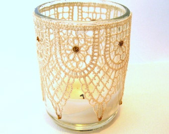 Ivory lace Votive Candle Holders 10 Glass votive holder taupe lace Wedding reception table Decor lace votive wedding decor