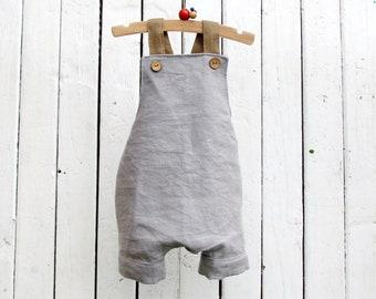 Linen Overalls for Baby Boy - Playsuit Baby Boy - Boys Shortalls - Linen Toddler Romper - Linen Baby Boy Romper - Grey Romper
