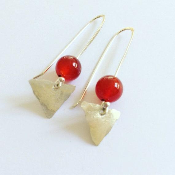 Carnelian Arrowhead Sterling Silver Earrings - Triangle - Geometric - Healing - Boho - Gypsy - Self Love - Chakras