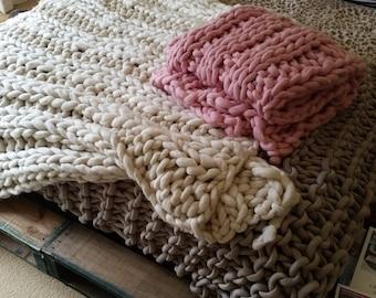 Extreme chunky,  hand spun Merino knit Blanket