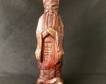 """Chinese Hand Carved Wood Immortal Statue 12"""""""