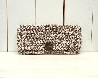 Fold Over Clutch Cotton Crochet Large Wallet Clutch HandBag Purse with Button Closure Two Tone Brown White Hippie Boho