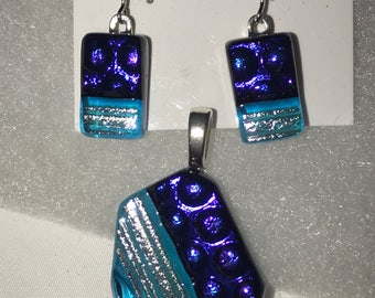 Blue and Purple Dichroic Jewelry Set