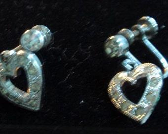 Sterling Heart Rhinestone/paste screwback earrings
