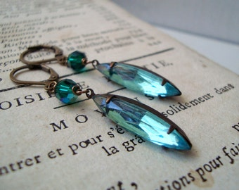 Aqua Crystal Navette Earrings Brass Jewelry Vintage Style March Birthstone Holiday Jewelry Bridesmaid Jewelry Gifts Under 30