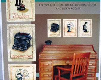 3 Piece Decal Decor Peel and Stick Wall Art, Antique Style Typewriter Telephone Fan, Supply Decoupage, Framing, Graphics, Upcyle Crafting
