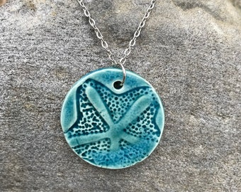 Starfish Necklace, Beach Necklace, Beach Jewelry, Nautical Jewelry, Clay Necklace, Sand Dollar Necklace,Womans Necklace, Pendant Necklace